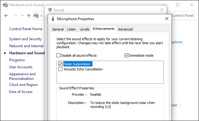 Enabling Noise Suppression on Windows 10