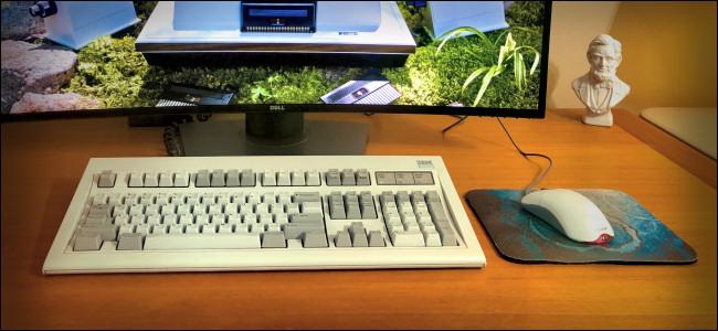 The IBM Model M Keyboard sitting on a desk.