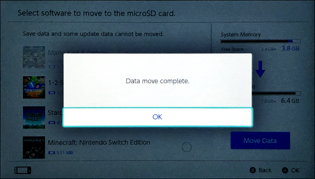 Data move complete on Nintendo Switch