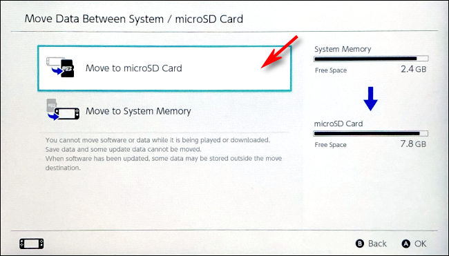 Select move to microSD card on Nintendo Switch