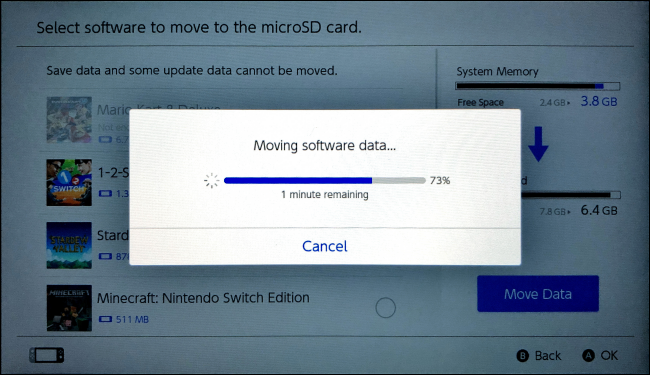 Moving Software dataon Nintendo Switch
