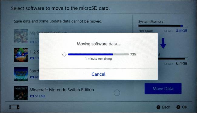 Moving Software dataon Nintendo Switch
