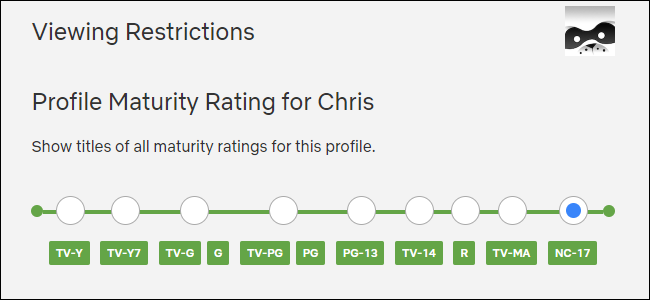 Selecting a profile maturity rating in Netflix