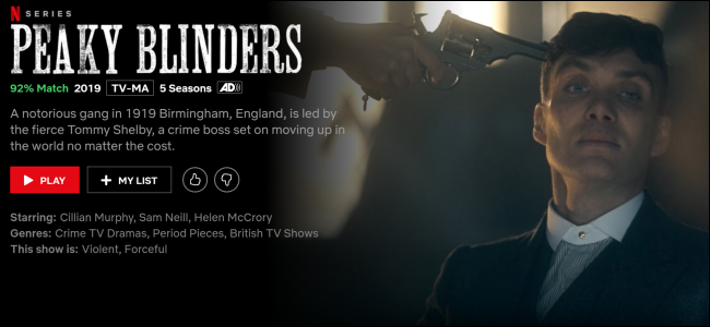 """Peaky Blinders"" on Netflix."