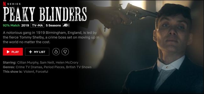 """Peaky Blinders"" on Netflix."