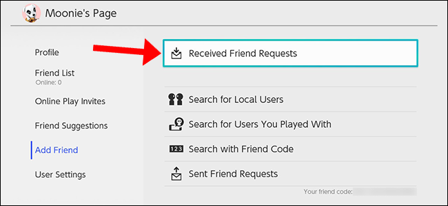 "Select ""Received Friend Requests"" to accept or decline."