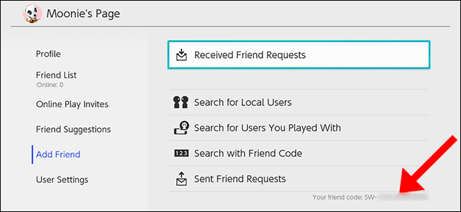 "The ""Add Friend"" menu on Nintendo Switch."