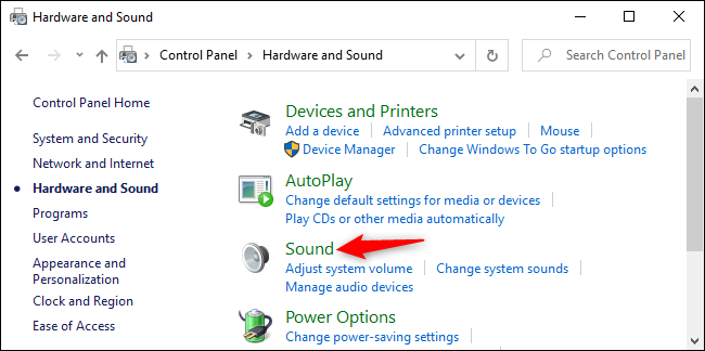Opening Sound options in Windows 10's Control Panel