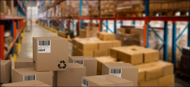 A stack of boxes in a warehouse.