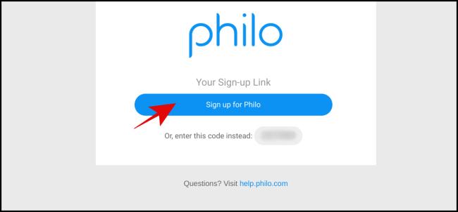 """Haga clic en """"Registrarse en Philo""""."""
