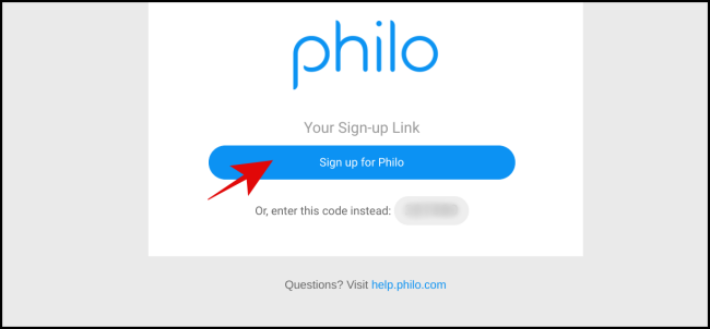 "Click ""Sign Up for Philo."""