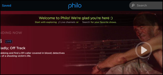 """The """"Welcome to Philo"""" page."""