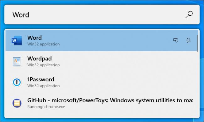 The PowerToys Run application launcher on Windows 10.