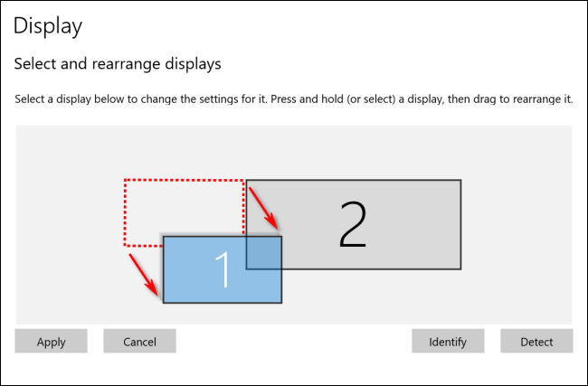 Rearranging Displays in Windows 10