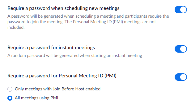 "The ""Require a Password When Scheduling New Meetings"" option."