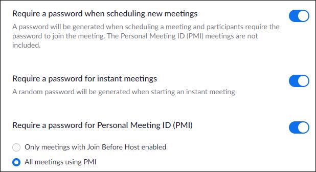 """La opción """"Requerir una contraseña al programar nuevas reuniones""""."""