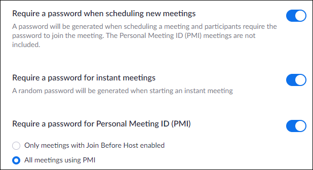 """The """"Require a Password When Scheduling New Meetings"""" option."""