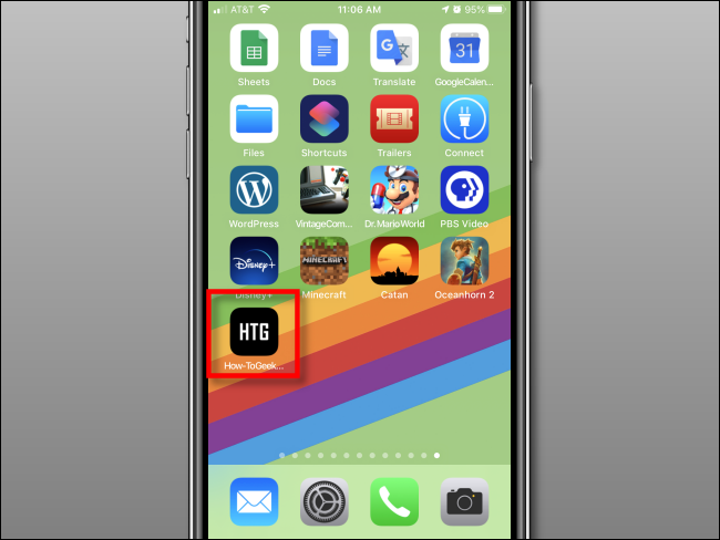 Web shortcut added to Home screen on iPhone