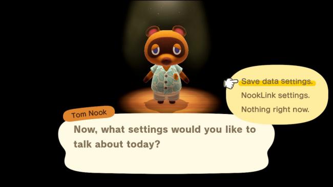 Tom Nook's Options Menu in Animal Crossing: New Horizons