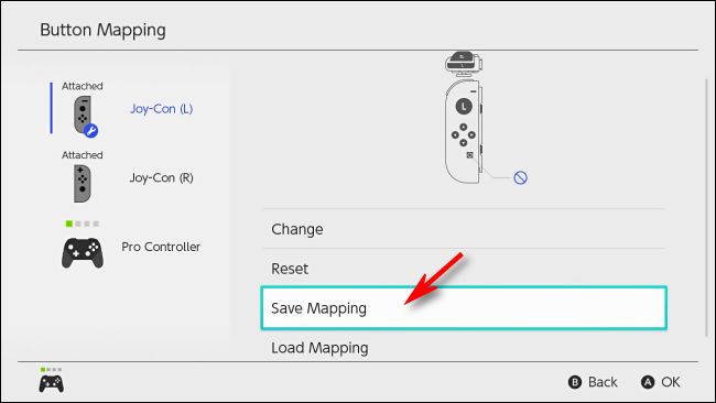 Select Save Mapping on Nintendo Switch