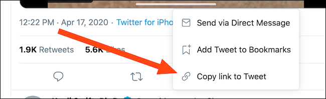 "Select the ""Copy Link To Tweet"" button"