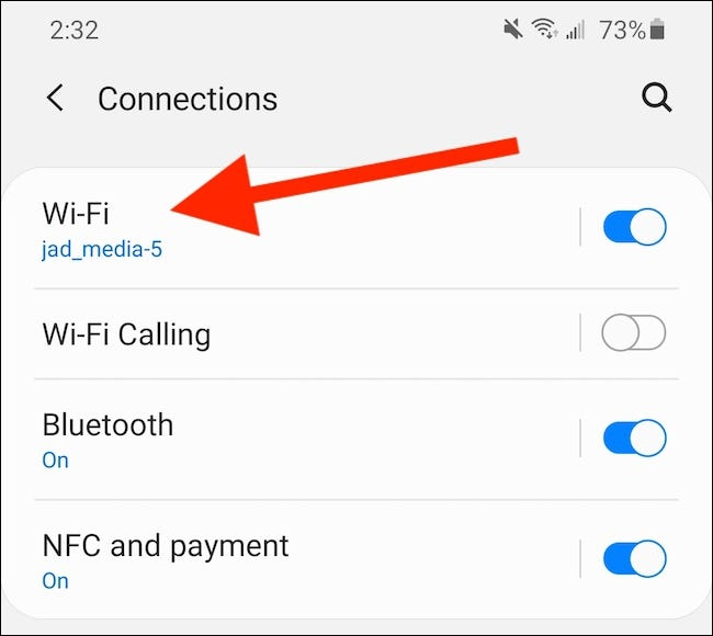 "Select the ""Wi-Fi"" Setting."
