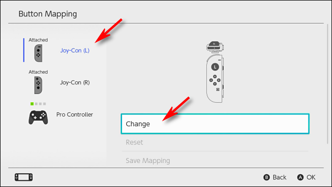 Select Controller to change mapping on Nintendo Switch