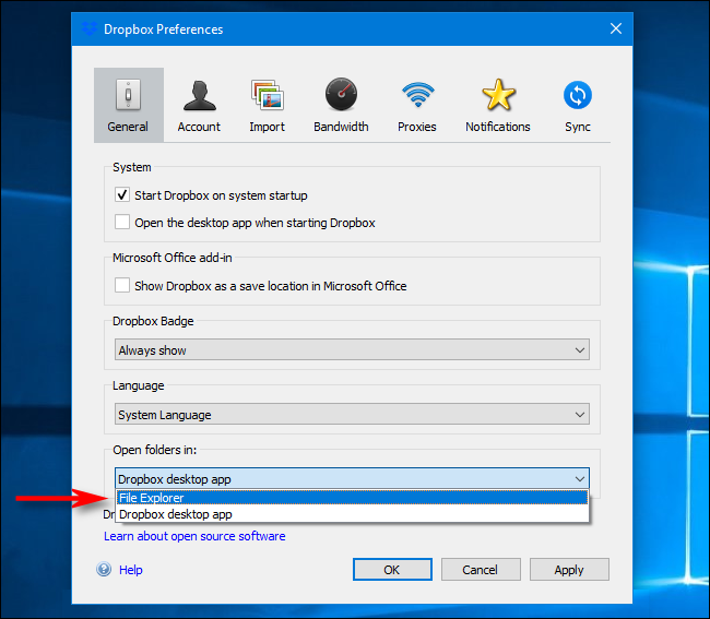 Dropbox Preferences on Windows: Select Open Folders In