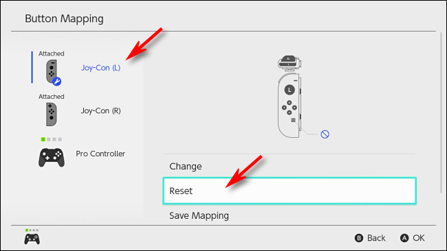 Select Reset to reset button mapping on Nintendo Switch