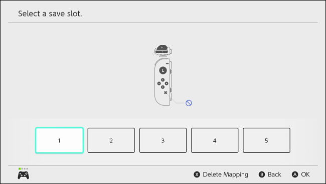 Select custom button mapping slot on Nintendo Switch