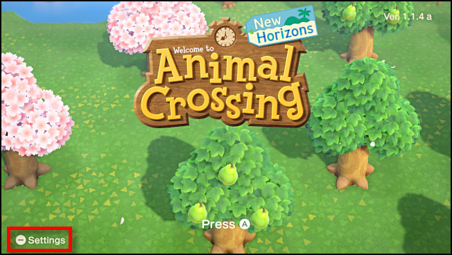 Launch options from the title screen in Animal Crossing: New Horizons