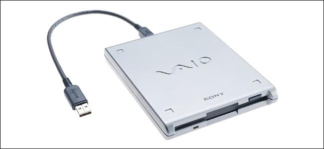 Una unidad de disquete USB Sony VAIO.