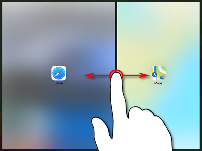Proportional control of the two apps in Split View on iPad using the black partition