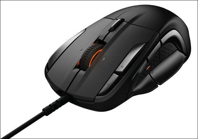 A SteelSeries Rival 500 gaming mouse.