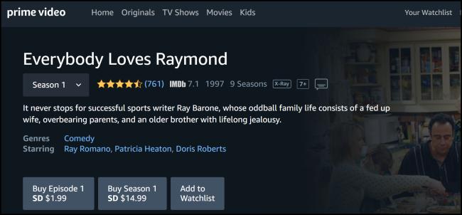 Amazon Prime Video Everybody Loves Raymond