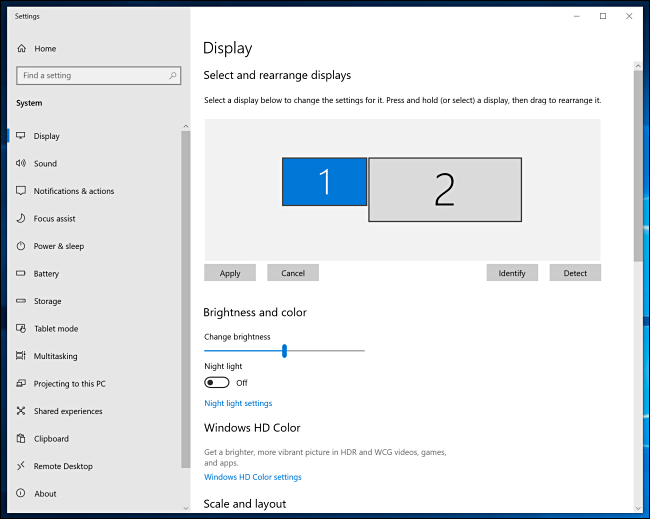 Windows 10 Display Settings Window