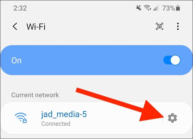 Tap the Network's Advanced Settings Menu Icon