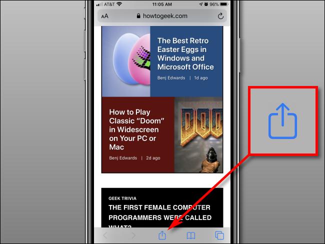 Tape Share button in Safari on iPhone