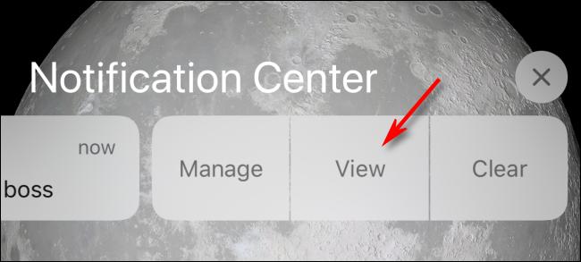 Toque Ver en el Centro de notificaciones o Pantalla de bloqueo para ver en iPhone
