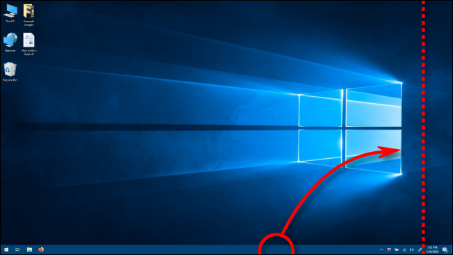 Move the Taskbar to a vertical orientation by dragging it in Windows 10