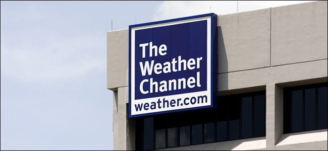 The Weather Channel logo seen on a sign on a building