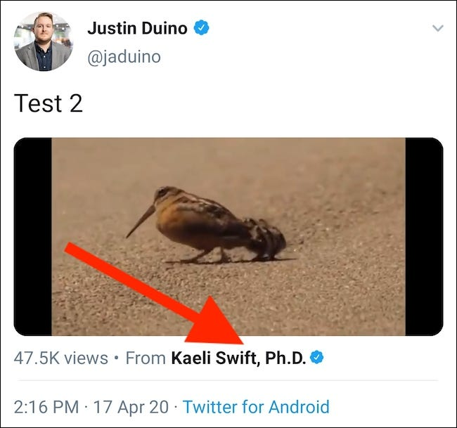 You will now have a tweet with the embedded video