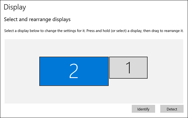 Display 2 selected in Windows 10 display settings