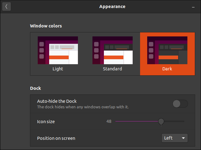 Ubuntu's appearance window with the dark Yaru theme selected.