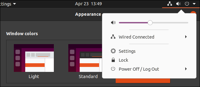 Ubuntu's dark theme with a light panel menu