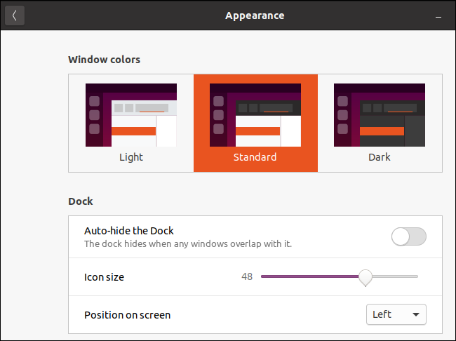 Ubuntu's appearance window with the standard theme selected.