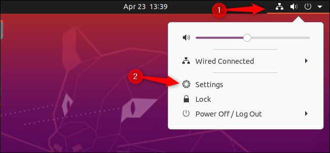 Opening the Settings window from Ubuntu's GNOME panel