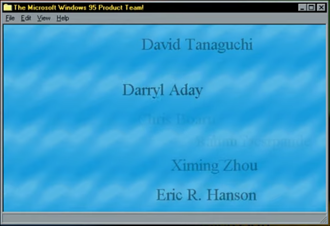 Windows 95 Team Credits Easter egg.