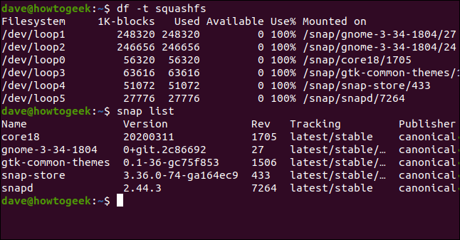 df -t squashfs in a terminal window.