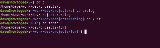 """The """"cd c,"""" """"cd prolog,"""" """"cd /usr,"""" and """"cd forth"""" commands in a terminal window."""
